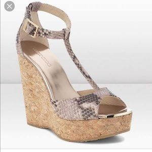 Authentic Jimmy Choo Wedge Snake Sandals